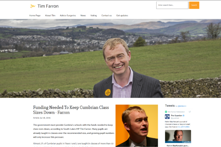 Tim Farron MP Homepage Screenshot